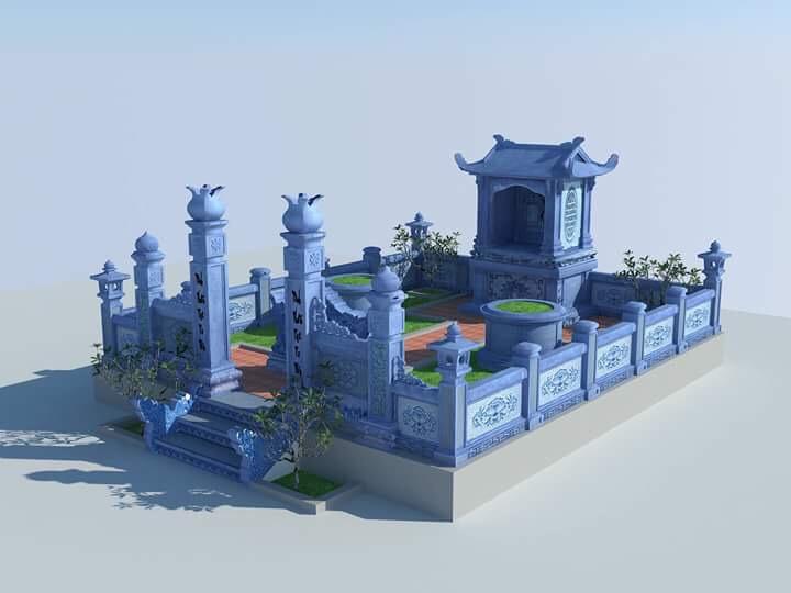 bản vẽ thiết kế 3d khu lăng mộ